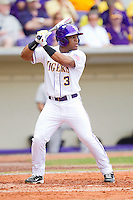 Trey Watkins #3 of the LSU Tigers at bat against the Wake Forest Demon Deacons at Alex Box Stadium on February 19, 2011 in Baton Rouge, Louisiana.  The Tigers defeated the Demon Deacons 4-3.  Photo by Brian Westerholt / Four Seam Images