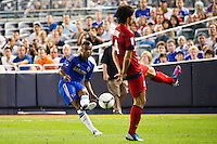 Ashley Cole (3) of Chelsea FC crosses the ball. Chelsea FC and Paris Saint-Germain played to a 1-1 tie during a 2012 Herbalife World Football Challenge match at Yankee Stadium in New York, NY, on July 22, 2012.