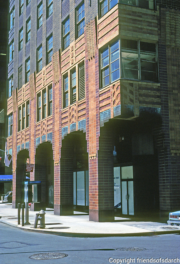 "New York: Downtown Athletic Club, 1926. Starrett & van Vleck. ""An Art Deco delight, salt-glazed tile from burnt orange to brown. Photo '91."