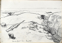 BNPS.co.uk (01202 558833)<br /> Pic: StroudAuctions/BNPS<br /> <br /> Pictured: Captain Theodore's pencil sketch of the front line<br /> <br /> The poignant sketchbook of a World War One surgeon has been unearthed a century later.<br /> <br /> Captain Theodore Howard Somervell, of the Royal Medical Corps, treated hundreds of wounded Tommies in a field hospital at the Battle of the Somme. <br /> <br /> He was one of just four surgeons working flat-out in a tent, as scores of casualties lay dying on stretchers outside on the bloodiest in British military history.<br /> <br /> There is a sombre pencil sketch of a soldier on the operating table surrounded by a nurse and doctors. Another watercolour shows the bodies of soldiers strewn on a boggy Western Front battlefield.<br /> <br /> Capt Somervell, who was Mentioned In Despatches, drew landmarks including churches which were reduced to rubble in the deadly barrage. He also took rare photos of life on the frontline, including some taken inside an operating theatre. His sketchbook is being sold by a direct descendant with Stroud Auctions, of Gloucs.