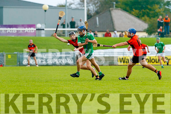 Jake Brosnan, Ballyduff, in action against Jimmy O'Halloran, Ballyheigue, during the Kerry County Minor Hurling Championship Final match between Ballyduff and Ballyheigue at Austin Stack Park in Tralee, Kerry.