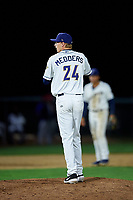 Tri-City Dust Devils relief pitcher Deacon Medders (24) prepares to deliver a pitch during a Northwest League game against the Vancouver Canadians at Gesa Stadium on August 21, 2019 in Pasco, Washington. Vancouver defeated Tri-City 1-0. (Zachary Lucy/Four Seam Images)
