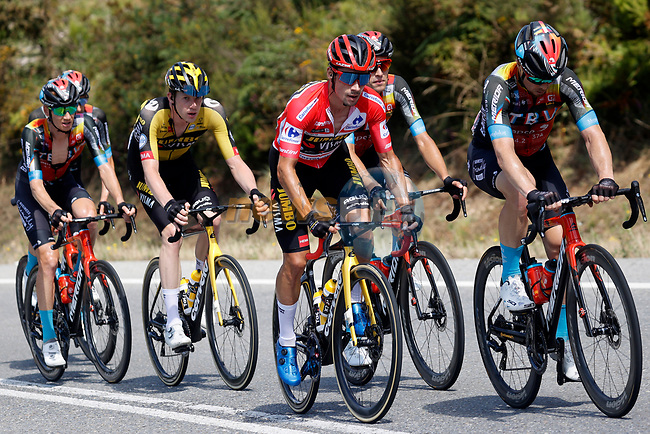 The peloton including Race leader Primoz Roglic (SLO) Jumbo-Visma during Stage 19 of La Vuelta d'Espana 2021, running 191.2km from Tapia de Casariego to Monforte de Lemos, Spain. 3rd September 2021.    <br /> Picture: Luis Angel Gomez/Photogomezsport | Cyclefile<br /> <br /> All photos usage must carry mandatory copyright credit (© Cyclefile | Luis Angel Gomez/Photogomezsport)