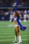 Dallas Cowboys cheerleaders in action during the pre-season game between the Tampa Bay Buccaneers and the Dallas Cowboys at the AT & T Stadium in Arlington, Texas.