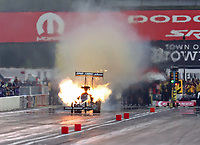 Sep 5, 2020; Clermont, Indiana, United States; NHRA top fuel driver Lex Joon blows an engine on fire during qualifying for the US Nationals at Lucas Oil Raceway. Mandatory Credit: Mark J. Rebilas-USA TODAY Sports