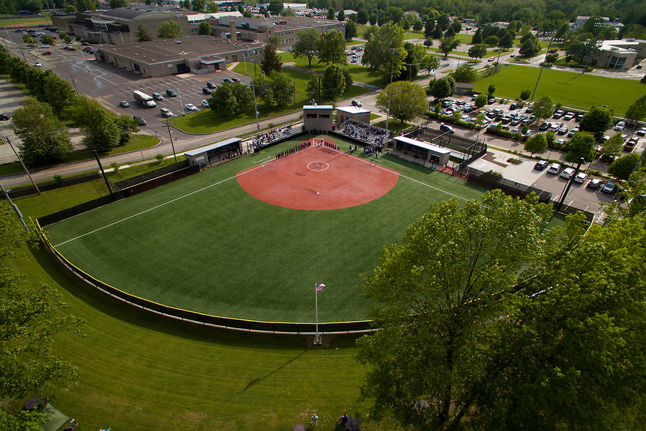 The Bloomington High School South Softball Field is pictured from the air on Tuesday, May 21, 2019. (Photo by James Brosher)
