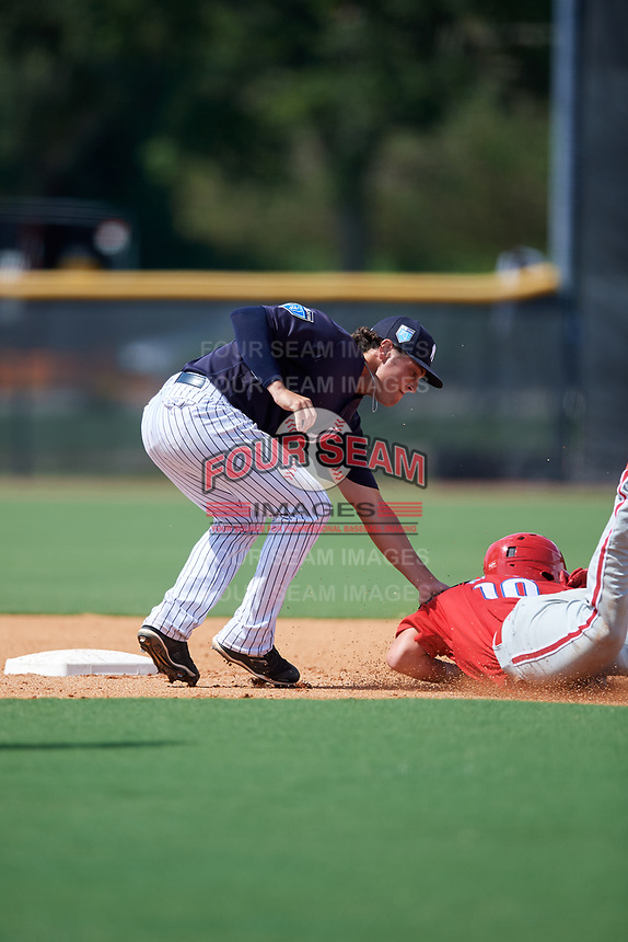 New York Yankees Brandon Wagner (15) tags Matt Kroon (10) as he slides into second base during a Florida Instructional League game against the Philadelphia Phillies on October 11, 2018 at Yankee Complex in Tampa, Florida.  (Mike Janes/Four Seam Images)