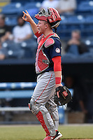 Hagerstown Suns catcher Jackson Reetz (21) during a game against the Asheville Tourists at McCormick Field on April 27, 2016 in Asheville, North Carolina. The Tourists defeated the Suns 14-7. (Tony Farlow/Four Seam Images)