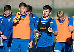 St Johnstone Training…29.10.19<br />Matty Kennedy and Callum Hendry pictured during a drinks break in training this morning at McDiarmid Park ahead of tomorrow's game against Hearts.<br />Picture by Graeme Hart.<br />Copyright Perthshire Picture Agency<br />Tel: 01738 623350  Mobile: 07990 594431
