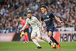 Juan Pablo Anor Acosta, Juanpi, (r) of Malaga CF fights for the ball with José Ignacio Fernández Iglesias, Nacho, of Real Madrid during their La Liga 2016-17 match between Real Madrid and Malaga CF at the Estadio Santiago Bernabéu on 21 January 2017 in Madrid, Spain. Photo by Diego Gonzalez Souto / Power Sport Images