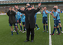 Forfar manager Dick Campbell leads the celebrations at the end of the game as Forfar  get into the play offs.