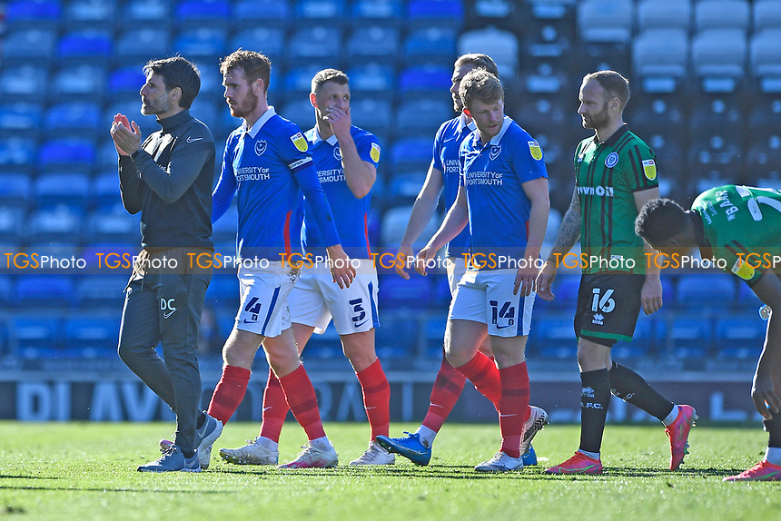 Portsmouth Manager Danny Cowley  left applauds his team off the pitch during Portsmouth vs Rochdale, Sky Bet EFL League 1 Football at Fratton Park on 2nd April 2021