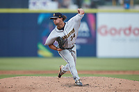 Charleston RiverDogs starting pitcher Ian Seymour (34) in action against the Kannapolis Cannon Ballers at Atrium Health Ballpark on July 1, 2021 in Kannapolis, North Carolina. (Brian Westerholt/Four Seam Images)