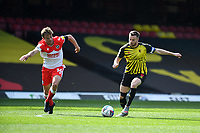 24th April 2021; Vicarage Road, Watford, Hertfordshire, England; English Football League Championship Football, Watford versus Millwall; Tom Cleverley of Watford switches play.