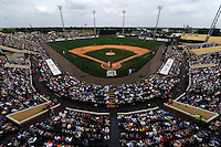 Overhead view of a Detroit Tigers Spring Training game against the New York Mets at Joker Marchant Stadium on March 11, 2013 in Lakeland, Florida.  New York defeated Detroit 11-0.  (Mike Janes/Four Seam Images)