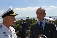 Pictured: Prince Edward (R). Saturday 18 May 2019<br /> Re: Prince Edward, Duke of Kent visits cruiser Georgios Averof at Palaio Faliro, Athens, Greece