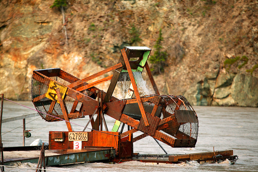 A fish wheel on the Copper River near Chitna, Wrangell-St Elias National Park and Preserve, Alaska