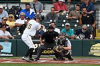 Bradenton Marauders first baseman Jordan Steranka (25) at bat in front of catcher Chadd Krist and umpire Joe George during a game against the Jupiter Hammerheads on April 17, 2015 at McKechnie Field in Bradenton, Florida.  Bradenton defeated Jupiter 11-6.  (Mike Janes/Four Seam Images)