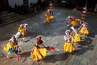 Circle of dancers t the Prakhar Lhakhang festival, Bumthang, Bhutan
