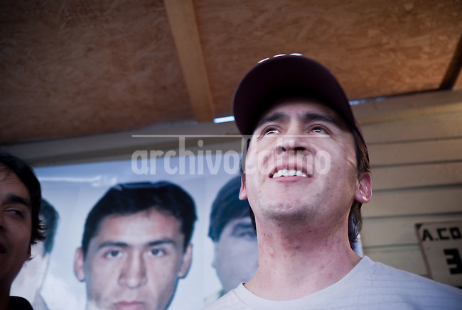 Ariel Ticona, one  of the 33 miners that were rescued after being 70 days at the bottom of San Jose mine in North of Chile, returns to his home in Copiapo.