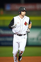 Louisville Cardinals third baseman Drew Ellis (10) runs the bases after hitting a home run during a game against the Maryland Terrapins on February 18, 2017 at Spectrum Field in Clearwater, Florida.  Louisville defeated Maryland 10-7.  (Mike Janes/Four Seam Images)
