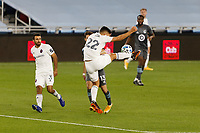 ST PAUL, MN - NOVEMBER 4: Mauricio Pineda #22 of Chicago Fire FC goes for the ball during a game between Chicago Fire and Minnesota United FC at Allianz Field on November 4, 2020 in St Paul, Minnesota.