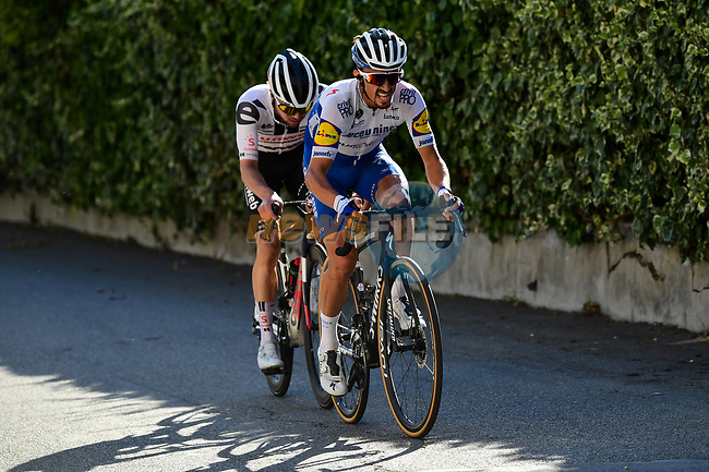 Julian Alaphilippe (FRA) Deceuninck-Quick Step and Marc Hirschi (SUI) Team Sunweb attack on the Col d'Eze during Stage 2 of Tour de France 2020, running 186km from Nice Haut Pays to Nice, France. 30th August 2020.<br /> Picture: ASO/Alex Broadway | Cyclefile<br /> All photos usage must carry mandatory copyright credit (© Cyclefile | ASO/Alex Broadway)