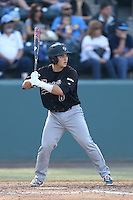 Chris Hoo #8 of the Cal Poly Mustangs bats against the UCLA Bruins at Jackie Robinson Stadium on February 22, 2014 in Los Angeles, California. Cal Poly defeated UCLA, 8-0. (Larry Goren/Four Seam Images)