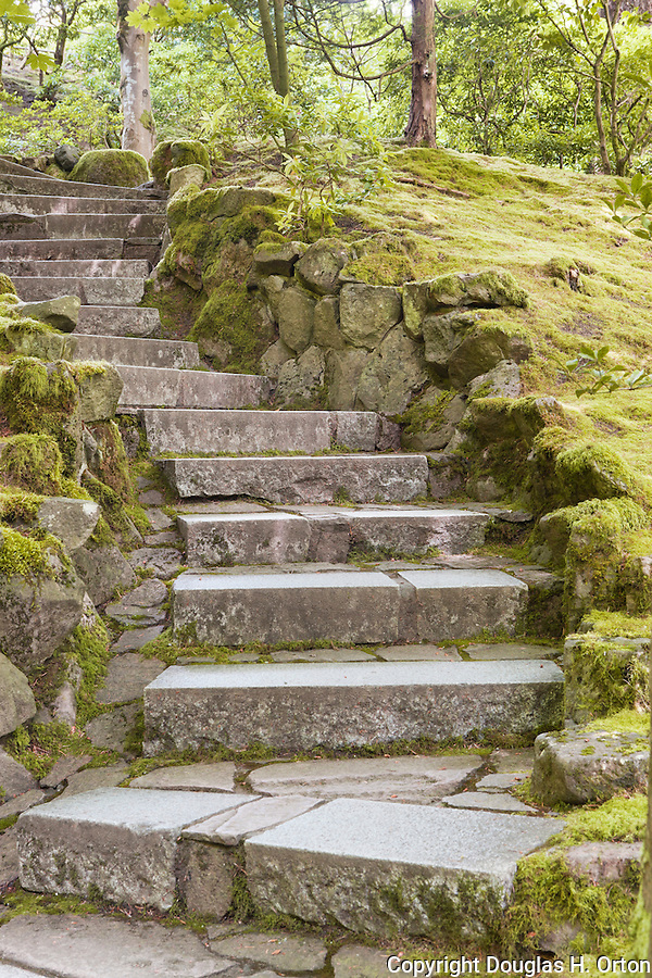 Stone Stairway, Portland Japanese Garden, Oregon.  The Japanese Garden in Portland is a 5.5 acre respit.  Said to be one of the most authentic Japanese Garden's outside of Japan, the rolling terrain and water features symbolize both peace and strength.  Northwest Native Species Garden.