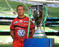 Jonny Wilkinson of RC Toulon stands with the Heineken Cup Trophy at the Captain's Run press conference before the Heineken Cup Final at the Aviva Stadium, Dublin on Friday 17th May 2013 (Photo by Rob Munro).