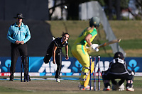 4th April 2021; Bay Oval, Taurange, New Zealand;  White Ferns Amelia Kerr bowls to Australia's Ellyse Perry during the 1st women's ODI White Ferns versus Australia Rose Bowl cricket match at Bay Oval in Tauranga.