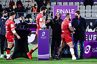 16th October 2020, Stade Maurice David, Aix-en-Provence, France;  Challenge Cup Rugby Final Bristol Bears versus RC Toulon; The losing finalists medal presentation to Bruno Muselier - Beka Gigashvili (RC Toulon) - Charles Ollivon (RC Toulon)