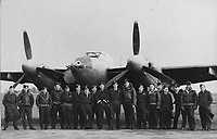 BNPS.co.uk (01202) 558833<br /> Pic: MarlowsAuctioneer/BNPS<br /> <br /> Pictured: The aircrew with Mosquito aircraft.<br /> <br /> The medals of a hero of the legendary Operation Jericho raid who dive-bombed the enemy from 10ft during a daring attack on a Gestapo prison have emerged for sale for £6,000.<br /> <br /> Flight Lieutenant Maxwell Sparks pulled off the daring manoeuvre during the daylight attack on the heavily-defended Amiens Prison in Northern France in February 1944.<br /> <br /> Positioned third in the attack's first wave, he flew at 'tree-top height' while bombarding the German guards' quarters, before ascending just in time to miss the prison's roof.
