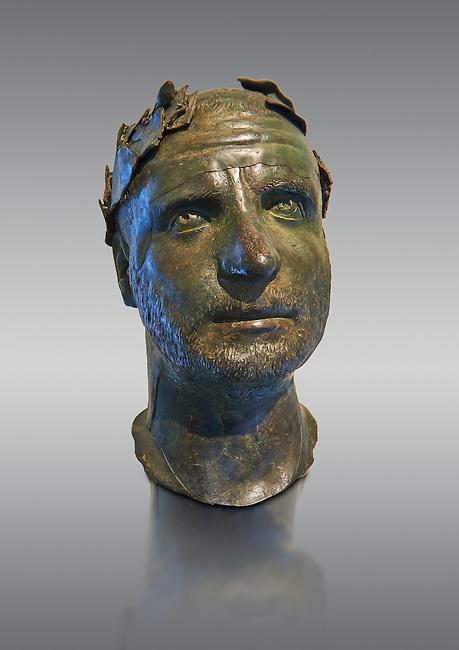 Bronze head of possibly Trebonianus Gallus, 251-253 A.D., inv 15032, Vatican Museum Rome, Italy, grey background