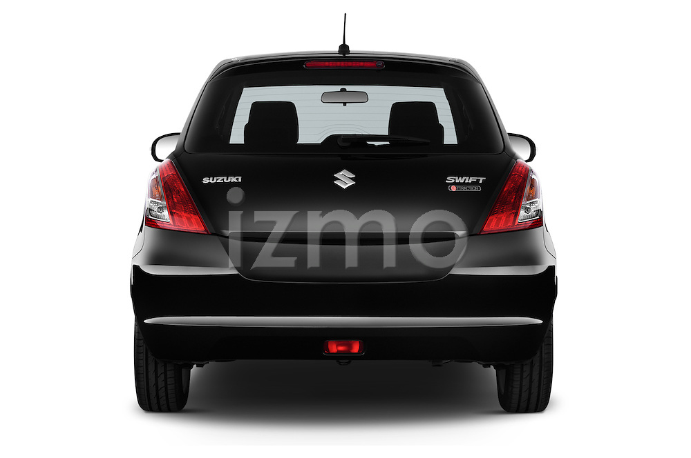 Straight rear view of a 2013 Suzuki SWIFT Grand Luxe @ttraction 5 Door Hatchback 2WD Rear View  stock images
