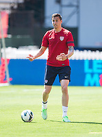 USMNT defender Geoff Cameron looks for an open pass during practice at RFK Stadium in Washington DC