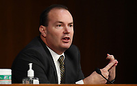 United States Senator Mike Lee (Republican of Utah) speaks during a US Senate Judiciary Committee confirmation hearing on the nomination of Amy Coney Barrett for Associate Justice of the Supreme Court, on Capitol Hill in Washington, DC on Thursday, October 15, 2020.  If confirmed, Barrett will replace Justice Ruth Bader Ginsburg, who died last month. <br /> Credit: Kevin Dietsch / Pool via CNP /MediaPunch
