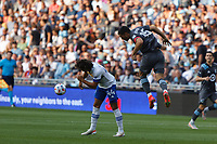 SAINT PAUL, MN - JULY 3: Michael Boxall #15 of Minnesota United FC and Cade Cowell #44 of the San Jose Earthquakes battle during a game between San Jose Earthquakes and Minnesota United FC at Allianz Field on July 3, 2021 in Saint Paul, Minnesota.