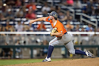 Auburn Tigers pitcher Tanner Burns (32) delivers a pitch to the plate during Game 4 of the NCAA College World Series against the Mississippi State Bulldogs on June 16, 2019 at TD Ameritrade Park in Omaha, Nebraska. Mississippi State defeated Auburn 5-4. (Andrew Woolley/Four Seam Images)