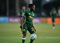 LAKE BUENA VISTA, FL - JULY 18: Yimmi Chará #23 of the Portland Timbers settles the ball during a game between Houston Dynamo and Portland Timbers at ESPN Wide World of Sports on July 18, 2020 in Lake Buena Vista, Florida.