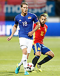 Spain's Jordi Alba (r) and Liechtenstein's Nicolas Hasler during FIFA World Cup 2018 Qualifying Round match. September 5,2016.(ALTERPHOTOS/Acero)