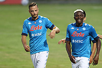 Amir Rrahmani of SSC Napoli and Victor Osimhen  celebrate<br /> during the friendly football match between SSC Napoli and L Aquila 1927 at stadio Patini in Castel di Sangro, Italy, August 28, 2020. <br /> Photo Cesare Purini / Insidefoto