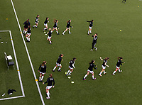 OHL players pictured during the warm up before a female soccer game between Oud Heverlee Leuven and Standard femina de liege on the 5 th matchday of play off 1 in the 2020 - 2021 season of Belgian Womens Super League , saturday 8 th of May 2021  in Heverlee , Belgium . PHOTO SPORTPIX.BE | SPP | SEVIL OKTEM