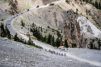 yellow jersey group up the Col de l'Izoard (HC/2354m/14.2km@7%) in the Casse Déserte<br /> <br /> Stage 18: Embrun to Valloire (208km)<br /> 106th Tour de France 2019 (2.UWT)<br /> <br /> ©kramon