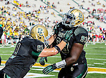 Baylor Bears defensive lineman Suleiman Masumbuko (93) and Baylor Bears defensive end Kevin Park (91) in action during the game between the Southern Methodist Mustangs and the Baylor Bears at the Floyd Casey Stadium in Waco, Texas. Baylor defeats SMU 59 to 24.