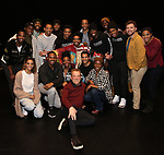 """Des McAnuff, James Harkness, Derrick Baskin, Jeremy Pope, E. Clayton Cornelious, Jawan M. Jackson and Ephraim Sykes with cast during the Legacy Robe honoring E. Clayton Cornelious for """"Ain't Too Proud"""" at the Imperial Theatre on 3/20/2019 in New York City."""