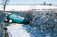 Remains of a car involved in a road traffic accident. The vehicle skidded on the snow and ended up in the ditch...© SHOUT. THIS PICTURE MUST ONLY BE USED TO ILLUSTRATE THE EMERGENCY SERVICES IN A POSITIVE MANNER. CONTACT JOHN CALLAN. Exact date unknown.john@shoutpictures.com.www.shoutpictures.com..