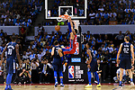 Ben Simmons of 76ers (R) dunks during the NBA China Games 2018 match between Dallas Mavericks and Philadelphia 76ers at Universiade Center on October 08 2018 in Shenzhen, China. Photo by Marcio Rodrigo Machado / Power Sport Images