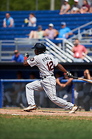 Tri-City ValleyCats center fielder Andy Pineda (12) bats during a game against the Batavia Muckdogs on July 16, 2017 at Dwyer Stadium in Batavia, New York.  Tri-City defeated Batavia 13-8.  (Mike Janes/Four Seam Images)