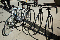 01 JUL 2014 - CHICAGO, USA - A bike shaped bike rack on South Michigan Avenue in Chicago in the USA (PHOTO COPYRIGHT © 2014 NIGEL FARROW, ALL RIGHTS RESERVED)